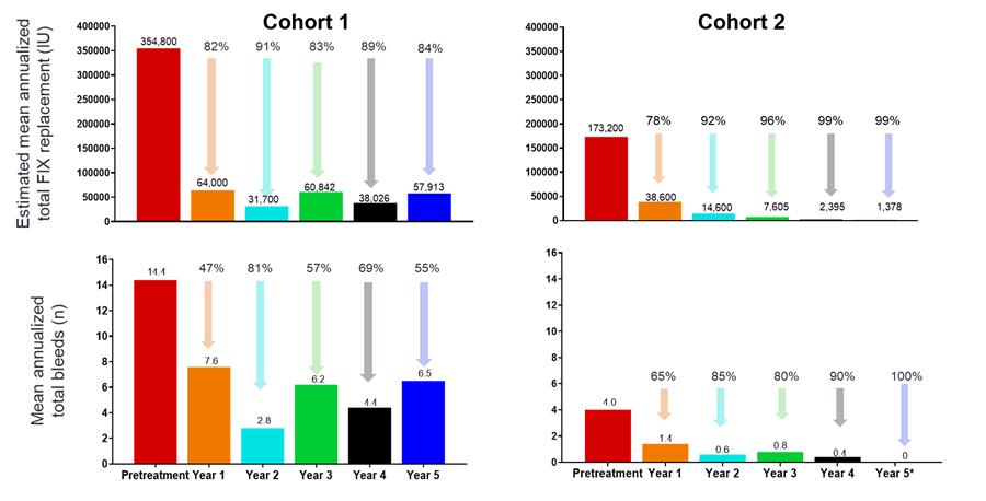 Aanhoudende vermindering van bloedingen en geschat FIX-gebruik